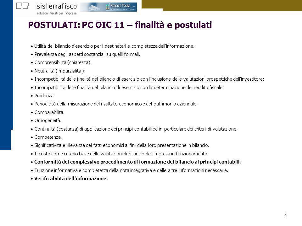 POSTULATI: PC OIC 11 – finalità e postulati