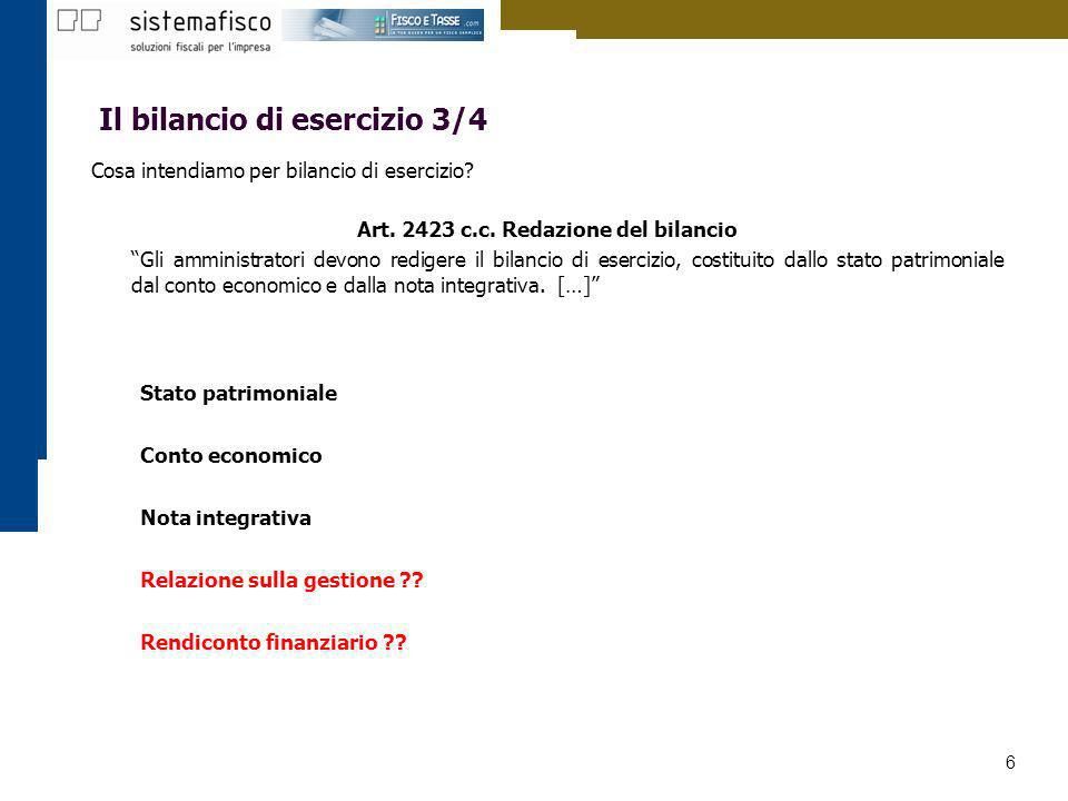 Art. 2423 c.c. Redazione del bilancio