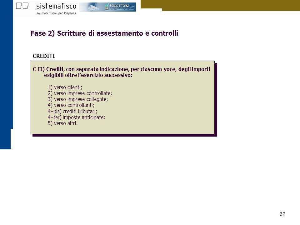 Fase 2) Scritture di assestamento e controlli
