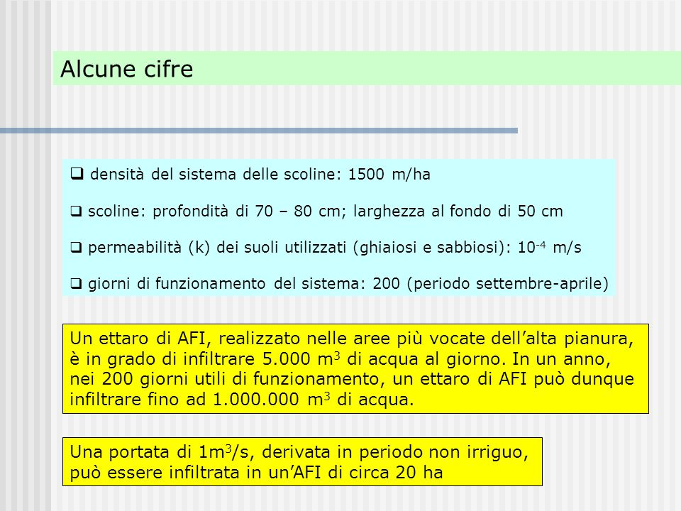 Alcune cifre densità del sistema delle scoline: 1500 m/ha
