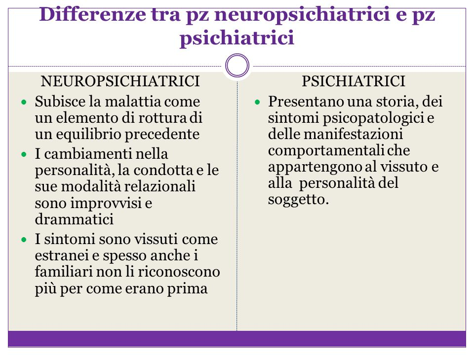 Differenze tra pz neuropsichiatrici e pz psichiatrici