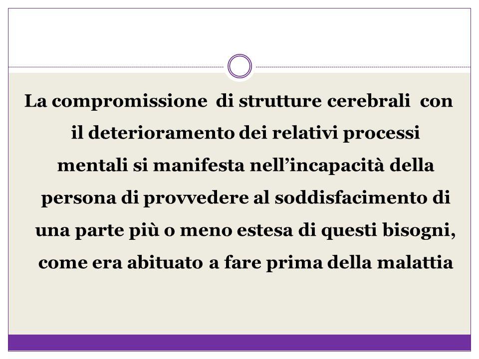 La compromissione di strutture cerebrali con il deterioramento dei relativi processi mentali si manifesta nell'incapacità della persona di provvedere al soddisfacimento di una parte più o meno estesa di questi bisogni, come era abituato a fare prima della malattia