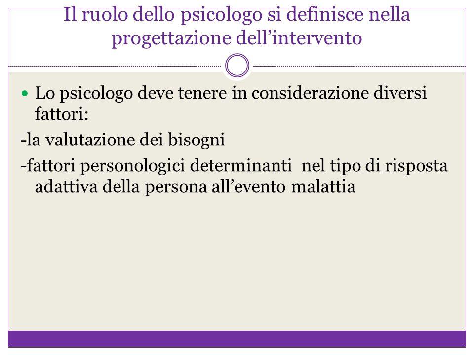 Il ruolo dello psicologo si definisce nella progettazione dell'intervento