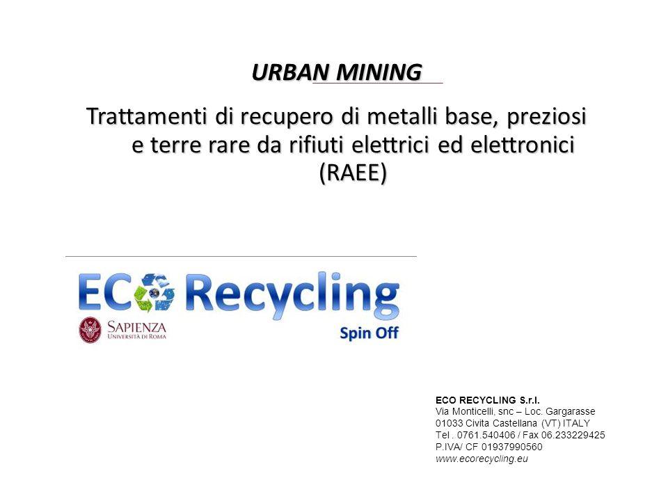 URBAN MINING Trattamenti di recupero di metalli base, preziosi e terre rare da rifiuti elettrici ed elettronici (RAEE)