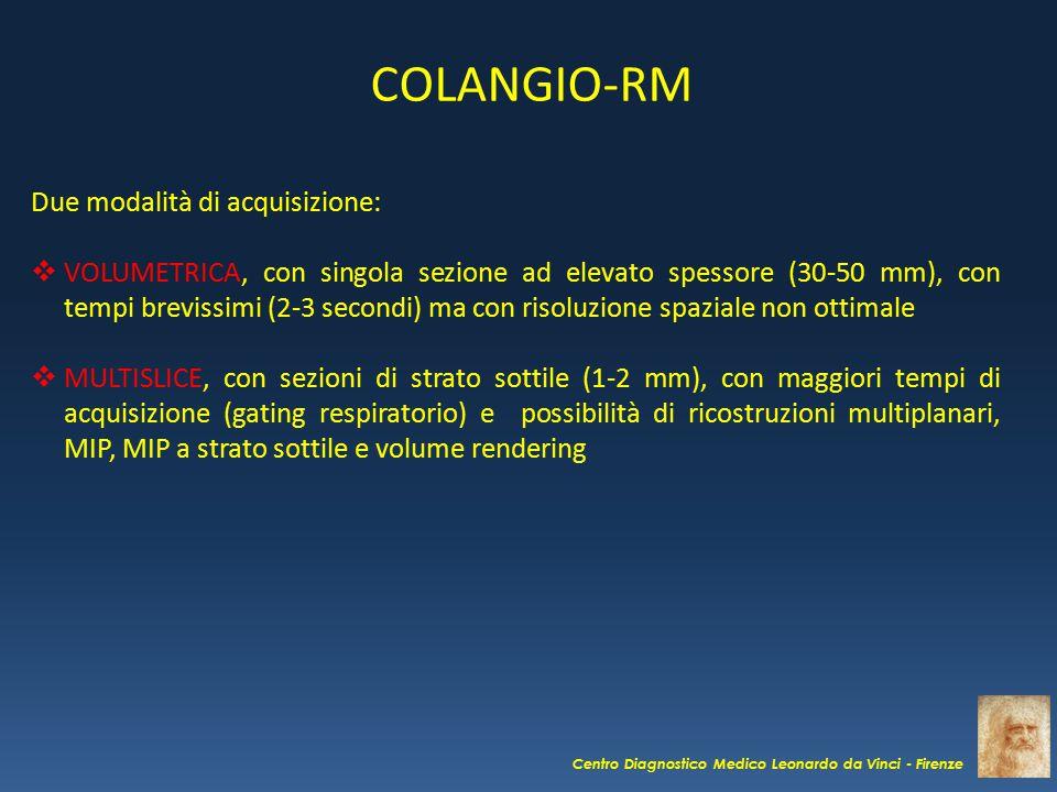 COLANGIO-RM Due modalità di acquisizione: