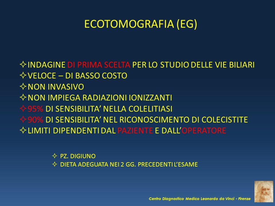 ECOTOMOGRAFIA (EG) INDAGINE DI PRIMA SCELTA PER LO STUDIO DELLE VIE BILIARI. VELOCE – DI BASSO COSTO.
