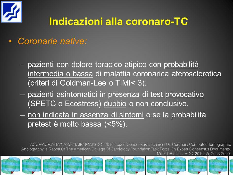 Indicazioni alla coronaro-TC