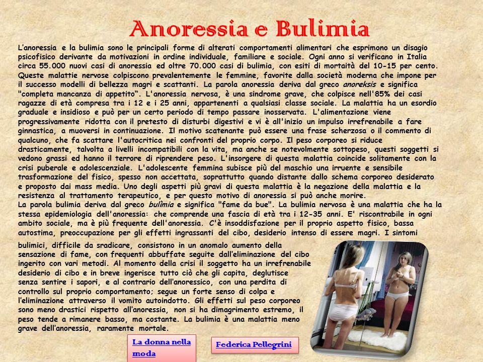 Anoressia e Bulimia La donna nella moda Federica Pellegrini