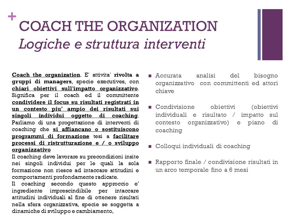 COACH THE ORGANIZATION Logiche e struttura interventi