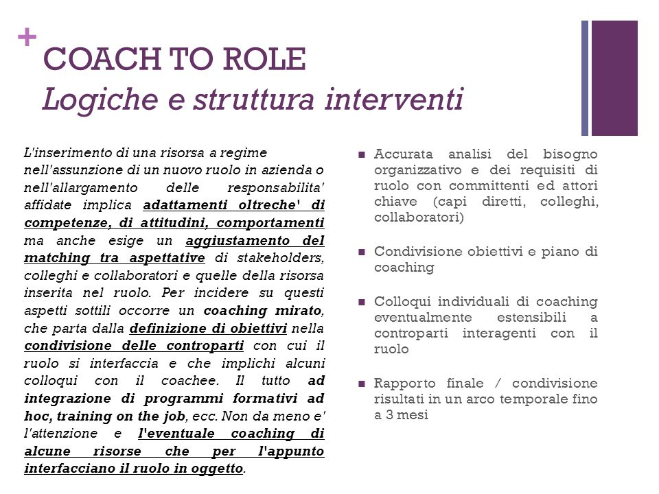 COACH TO ROLE Logiche e struttura interventi