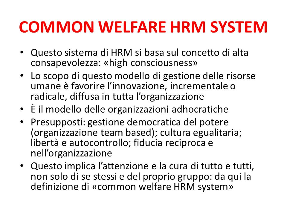COMMON WELFARE HRM SYSTEM