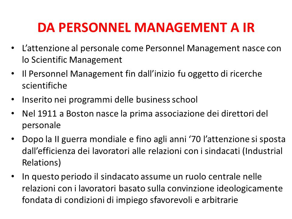 DA PERSONNEL MANAGEMENT A IR