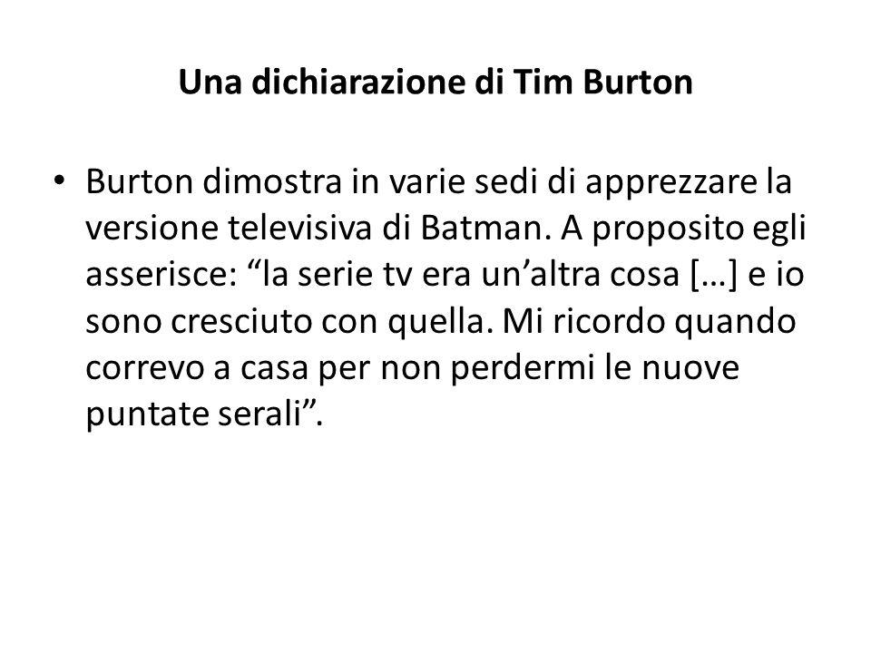 Una dichiarazione di Tim Burton
