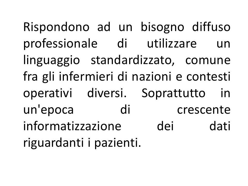 Rispondono ad un bisogno diffuso professionale di utilizzare un linguaggio standardizzato, comune fra gli infermieri di nazioni e contesti operativi diversi.