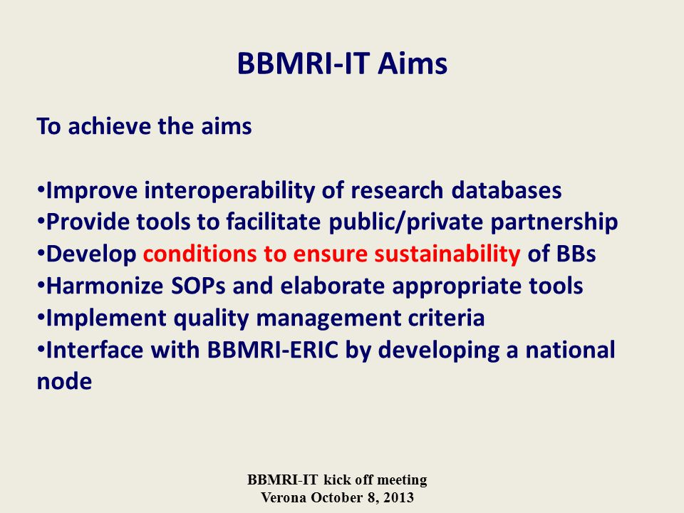 BBMRI-IT kick off meeting