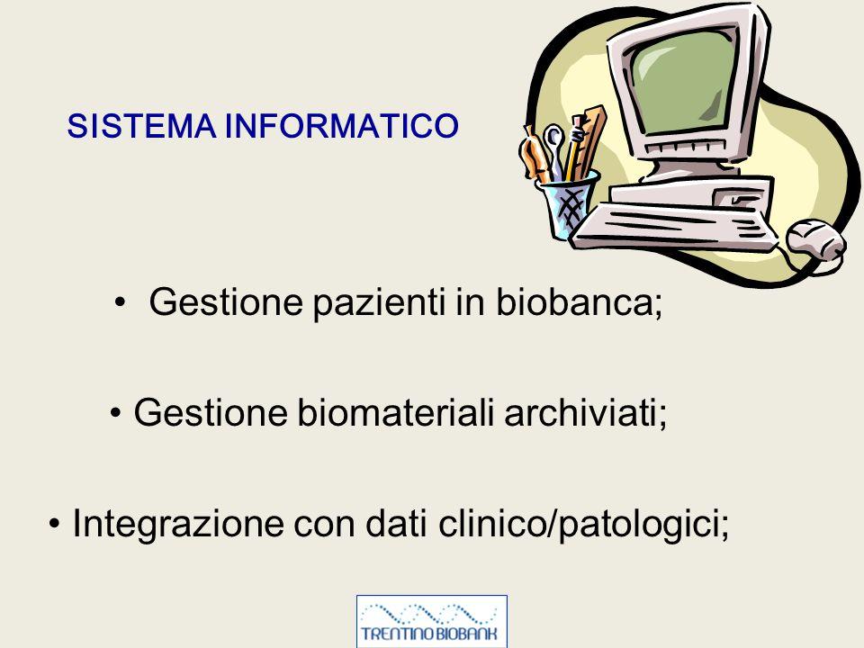 Gestione pazienti in biobanca; Gestione biomateriali archiviati;
