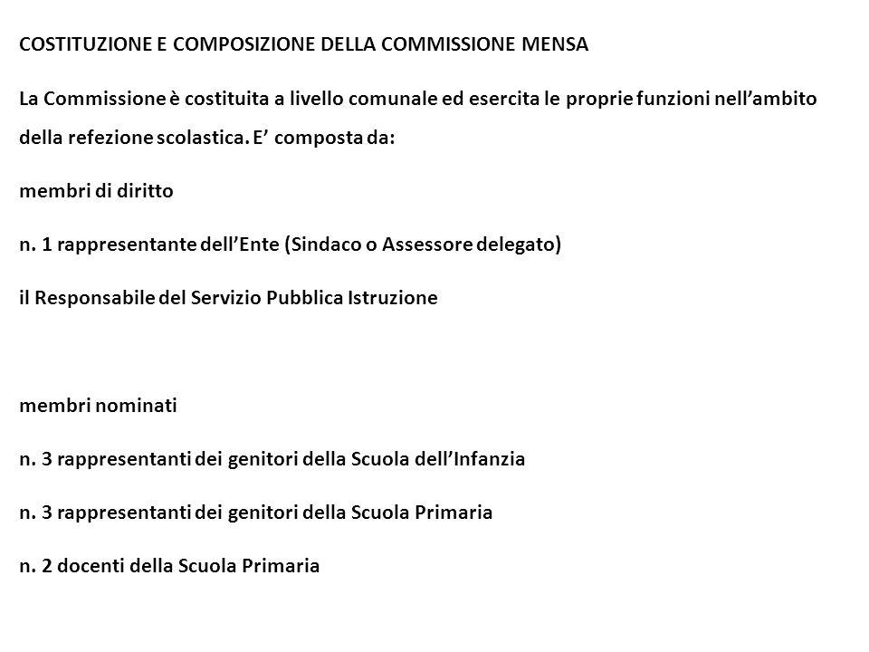 COSTITUZIONE E COMPOSIZIONE DELLA COMMISSIONE MENSA