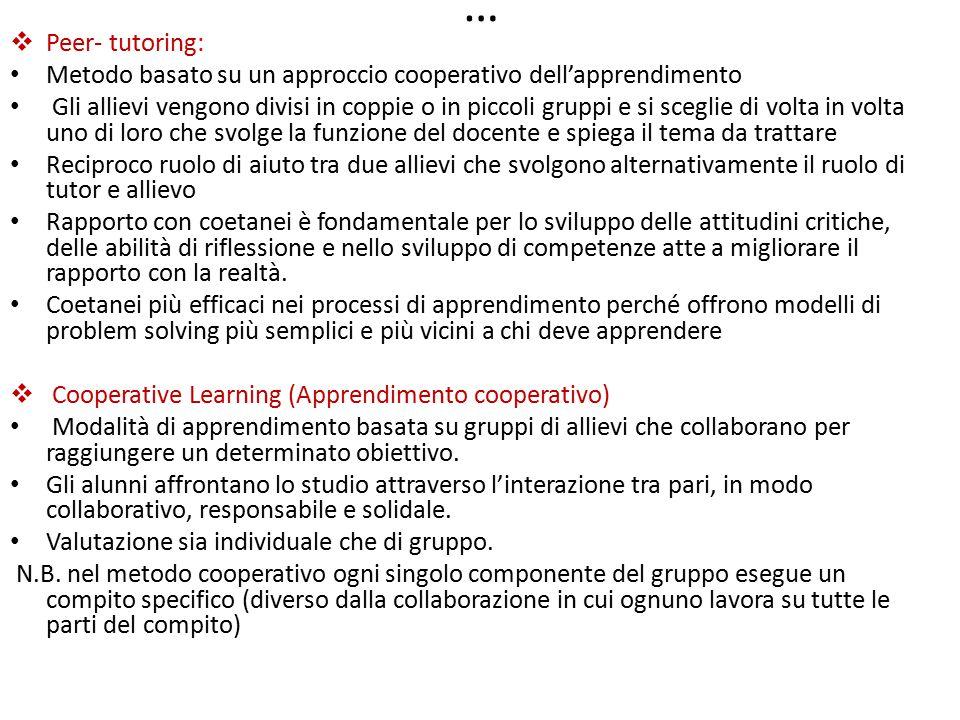 … Peer- tutoring: Metodo basato su un approccio cooperativo dell'apprendimento.