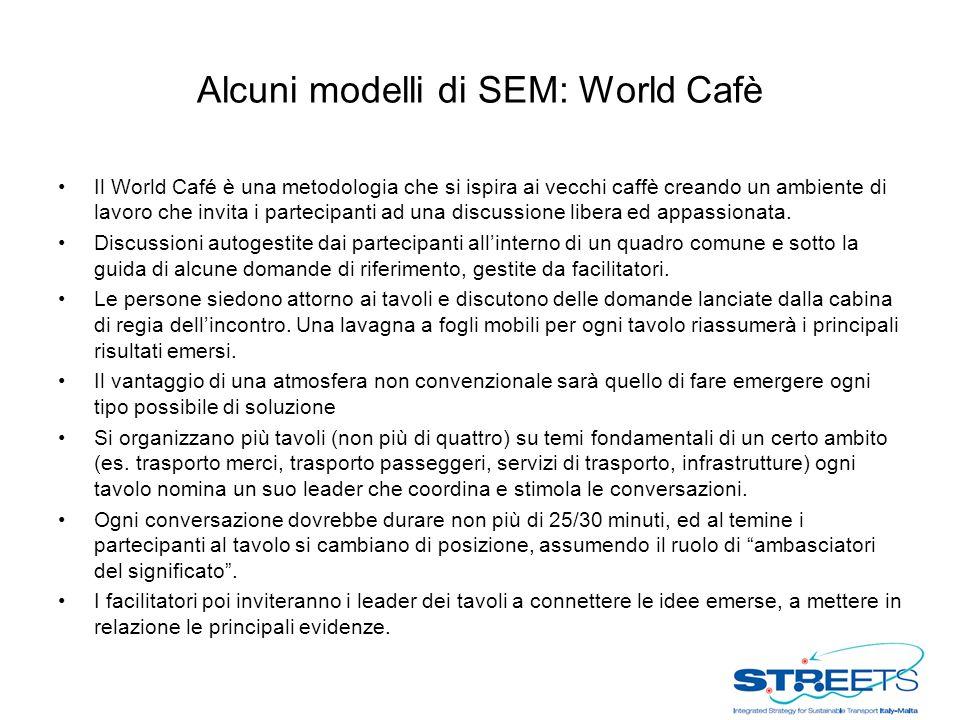 Alcuni modelli di SEM: World Cafè