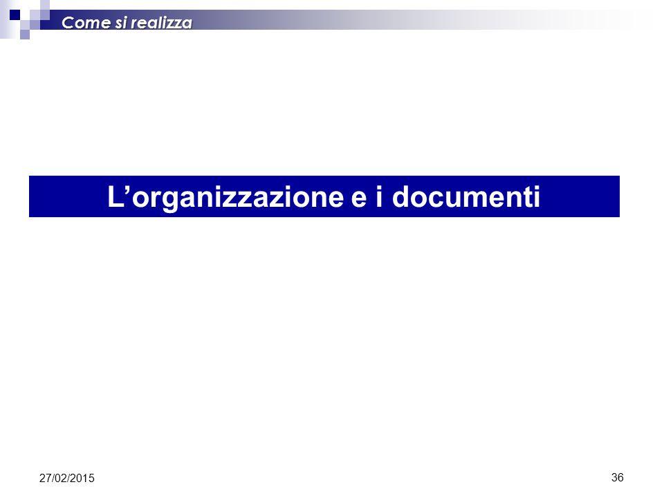 L'organizzazione e i documenti