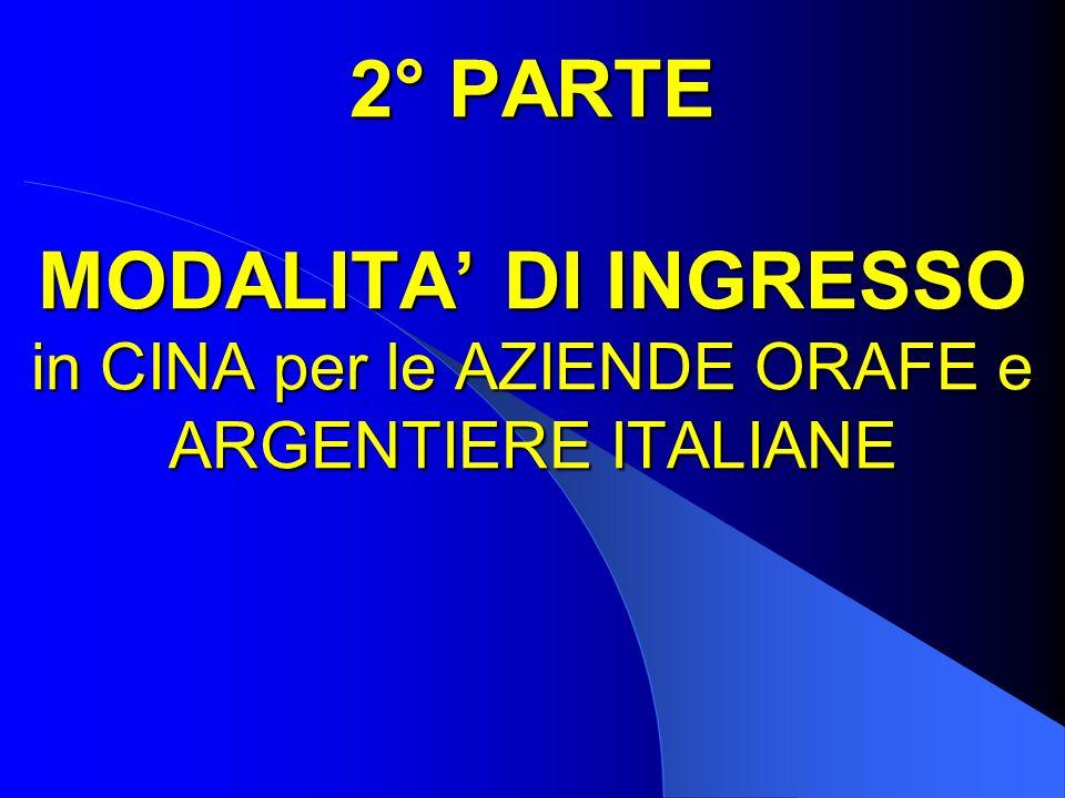2° PARTE MODALITA' DI INGRESSO in CINA per le AZIENDE ORAFE e ARGENTIERE ITALIANE