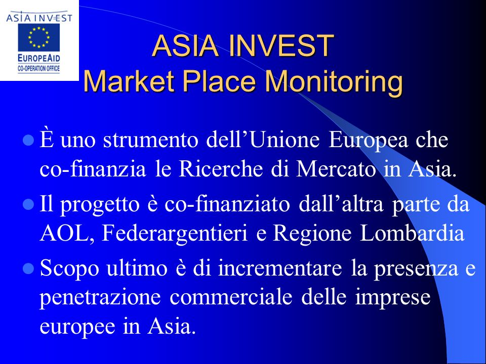 ASIA INVEST Market Place Monitoring