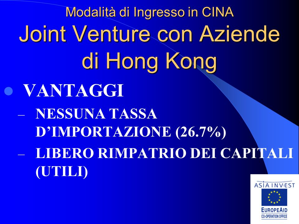 Modalità di Ingresso in CINA Joint Venture con Aziende di Hong Kong