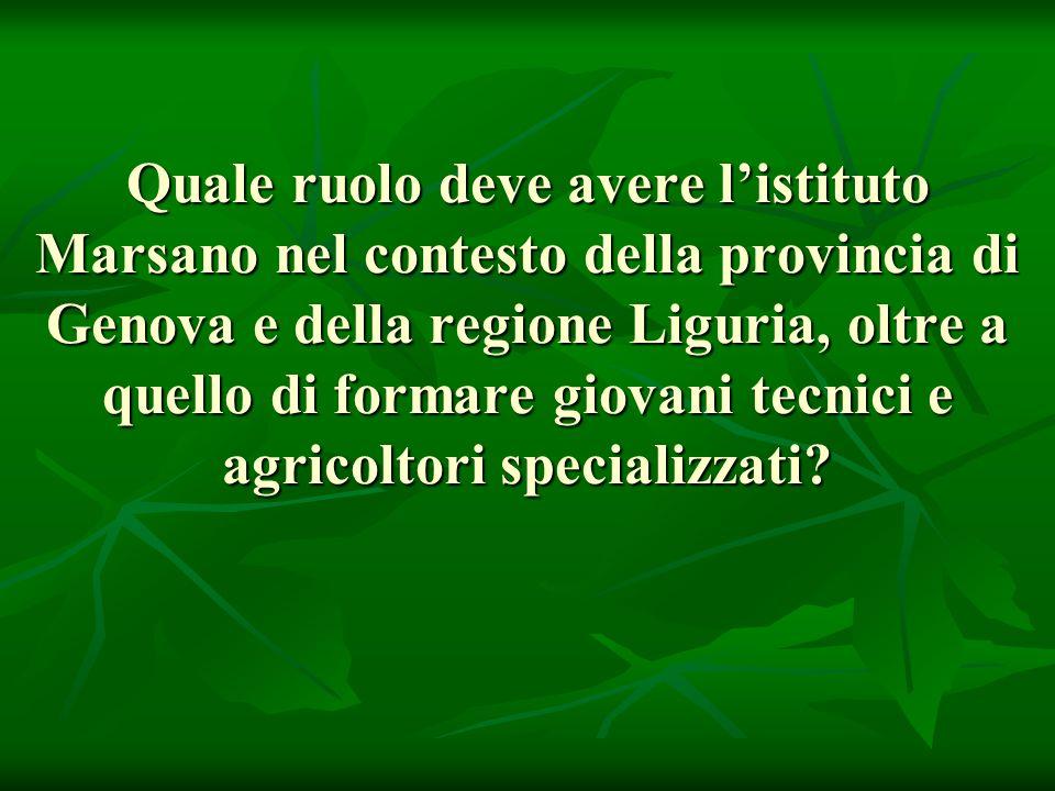 Quale ruolo deve avere l'istituto Marsano nel contesto della provincia di Genova e della regione Liguria, oltre a quello di formare giovani tecnici e agricoltori specializzati