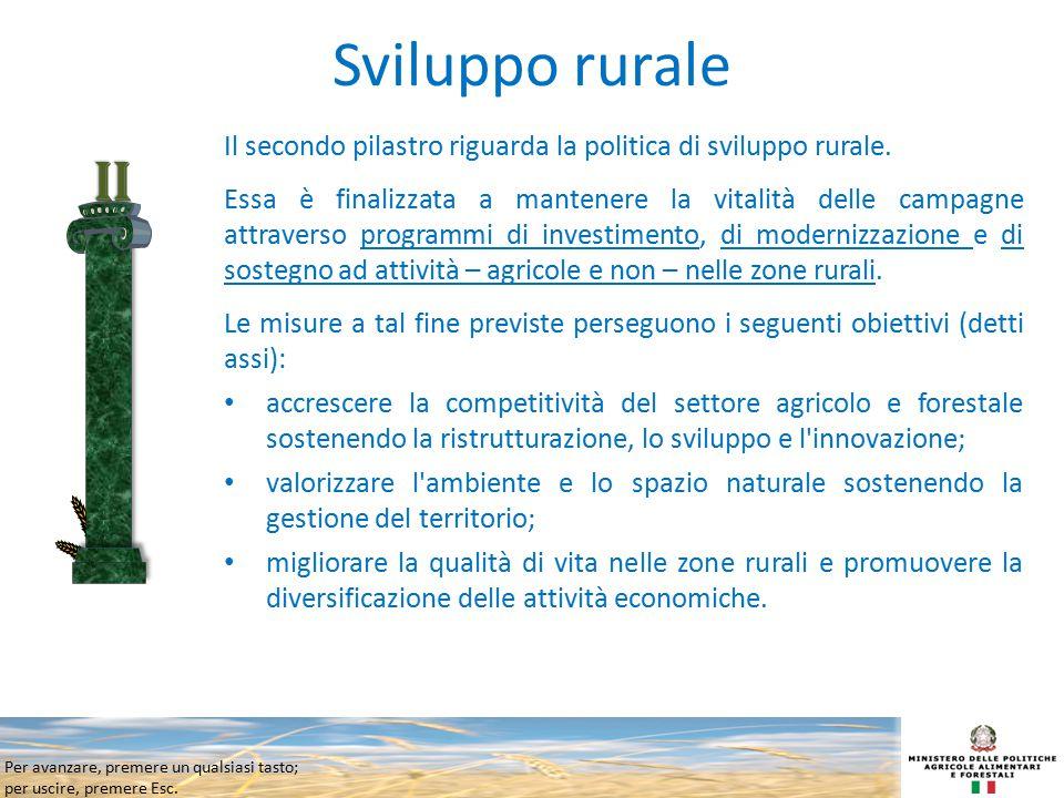 Sviluppo rurale Il secondo pilastro riguarda la politica di sviluppo rurale.