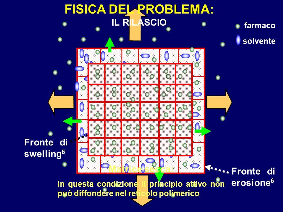 FISICA DEL PROBLEMA: IL RILASCIO Fronte di swelling6 Matrice secca: