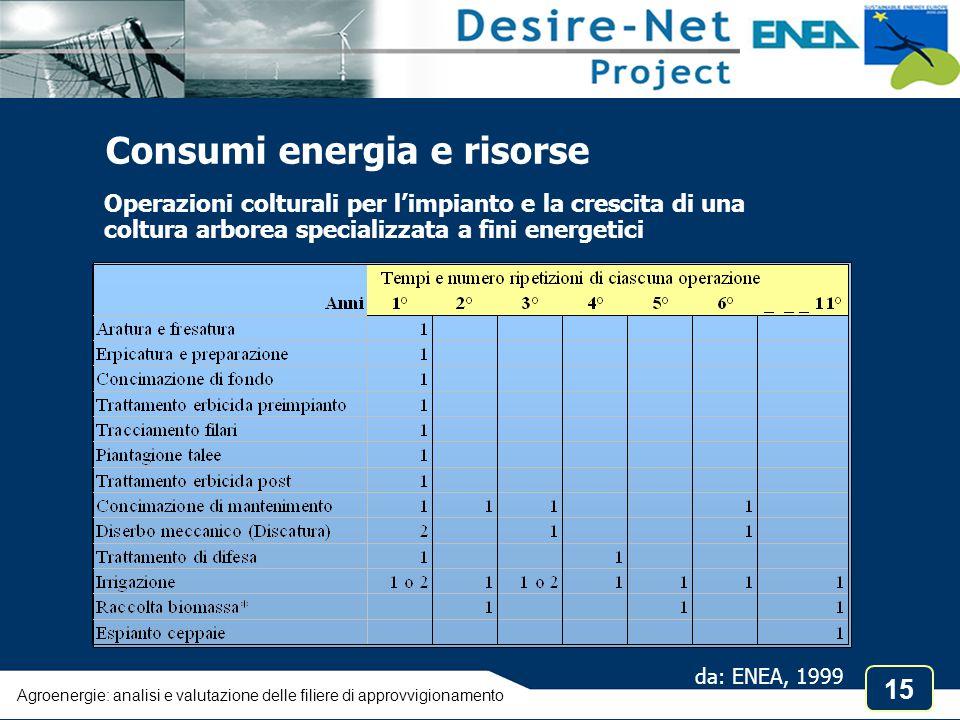 Consumi energia e risorse
