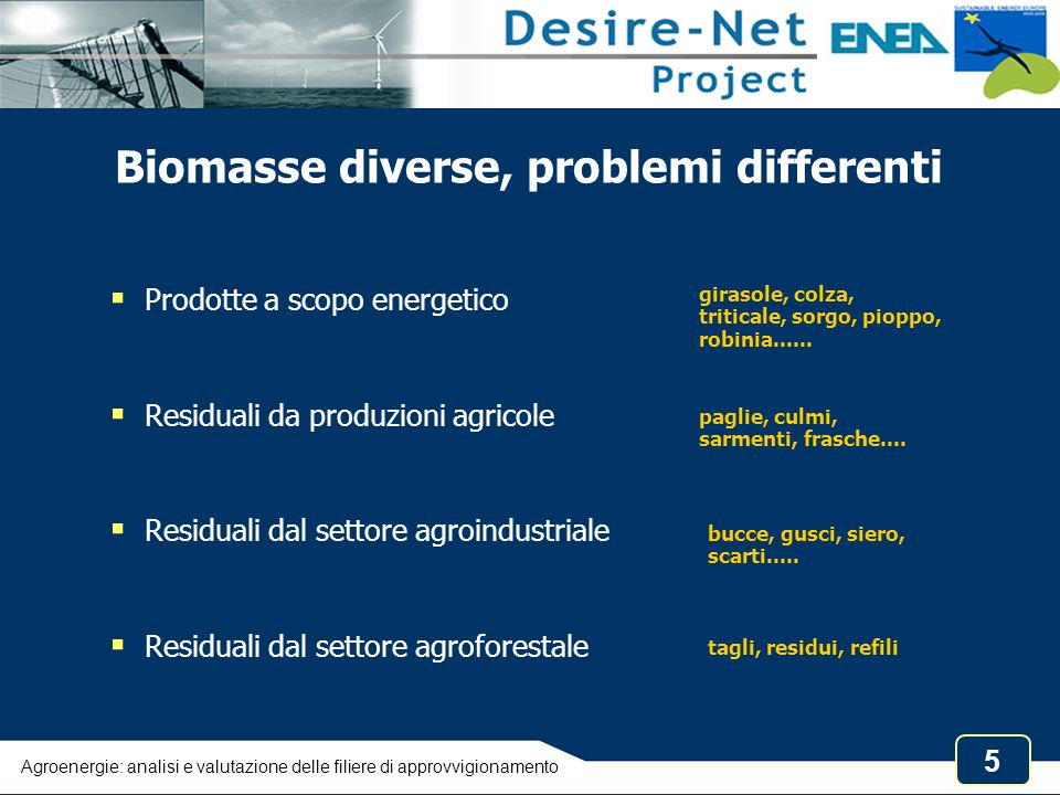 Biomasse diverse, problemi differenti