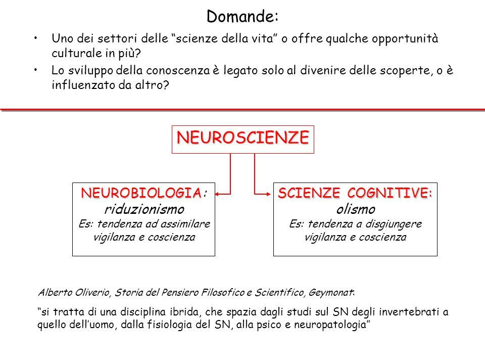 Domande: NEUROSCIENZE NEUROBIOLOGIA: riduzionismo SCIENZE COGNITIVE: