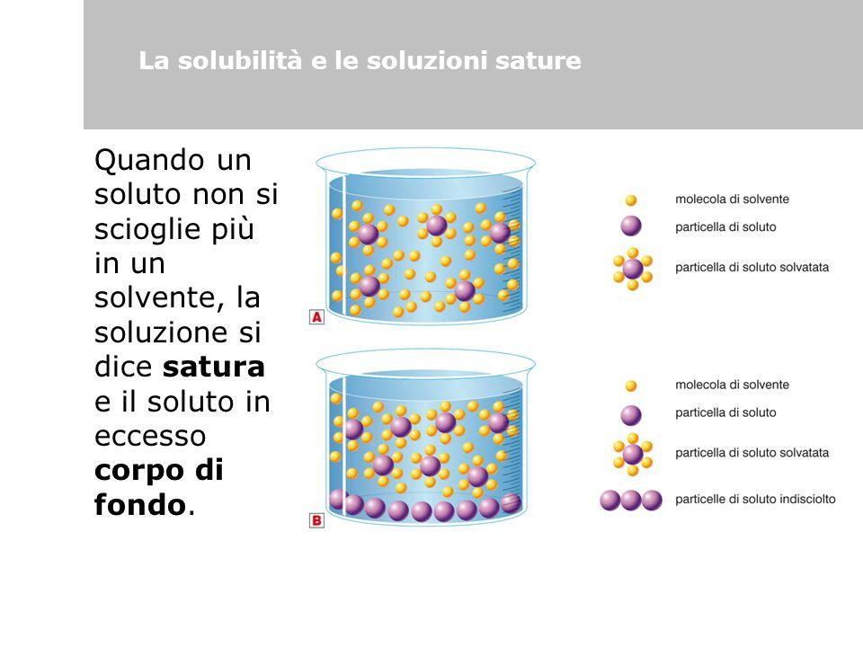 La solubilità e le soluzioni sature