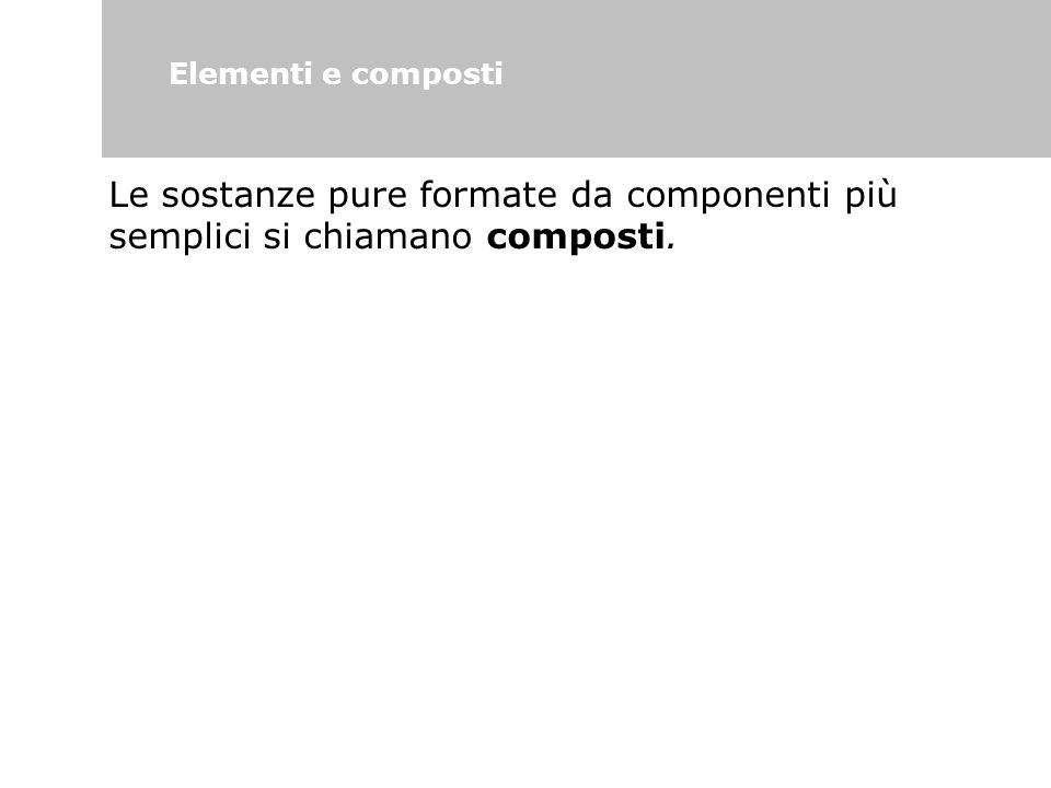 Elementi e composti Le sostanze pure formate da componenti più semplici si chiamano composti. 63