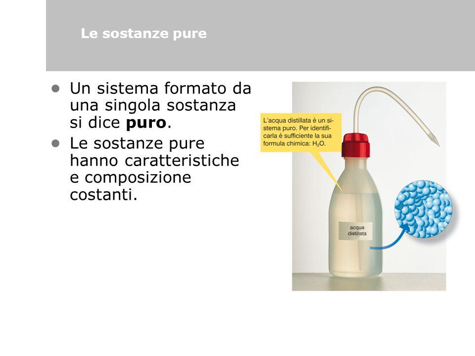 • Un sistema formato da una singola sostanza si dice puro.