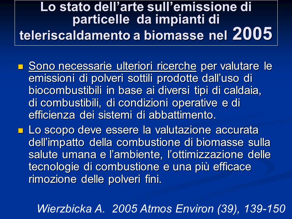 Lo stato dell'arte sull'emissione di particelle da impianti di teleriscaldamento a biomasse nel 2005