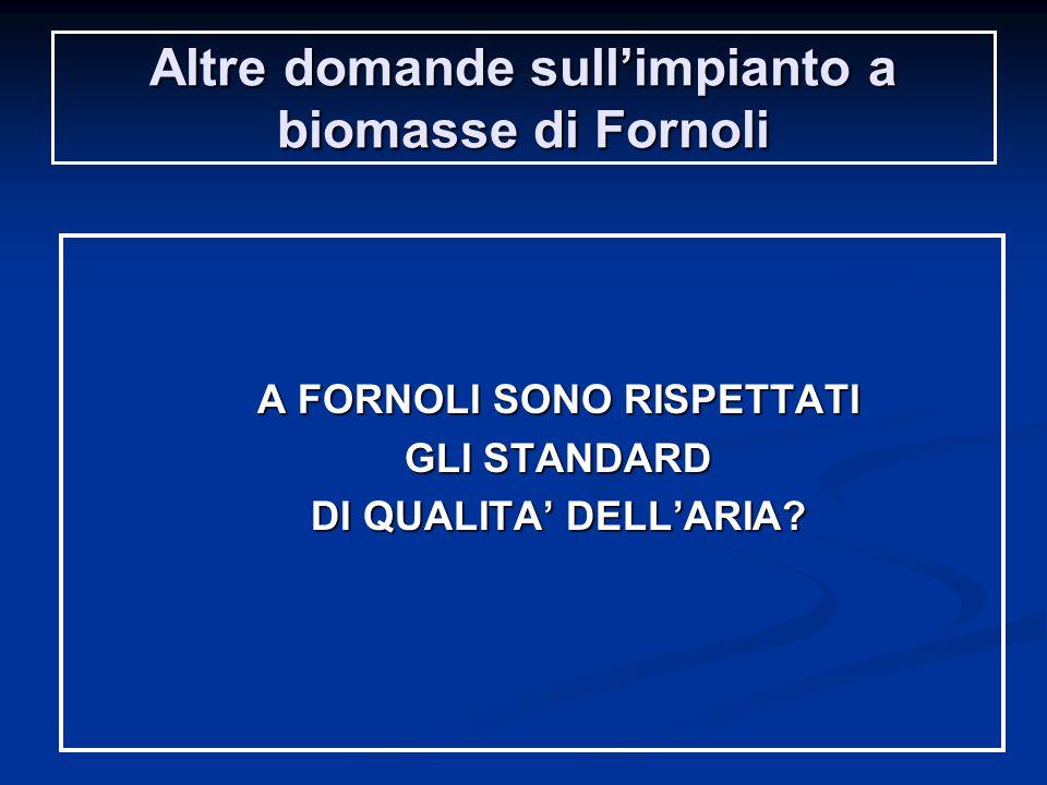 Altre domande sull'impianto a biomasse di Fornoli