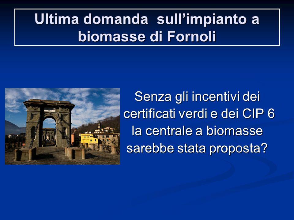 Ultima domanda sull'impianto a biomasse di Fornoli