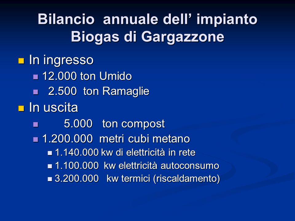 Bilancio annuale dell' impianto Biogas di Gargazzone