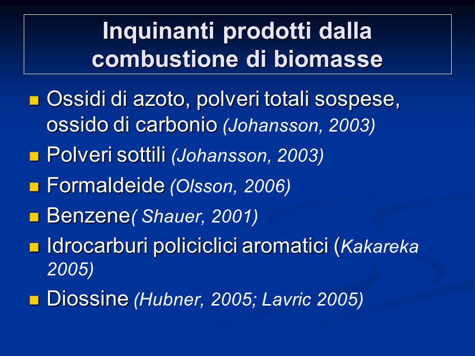 Inquinanti prodotti dalla combustione di biomasse