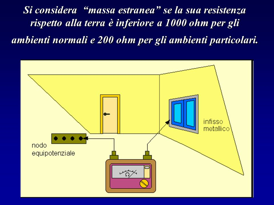 Si considera massa estranea se la sua resistenza rispetto alla terra è inferiore a 1000 ohm per gli ambienti normali e 200 ohm per gli ambienti particolari.