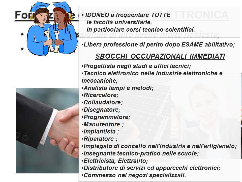 Formazione del PERITO in ELETTRONICA SBOCCHI OCCUPAZIONALI IMMEDIATI