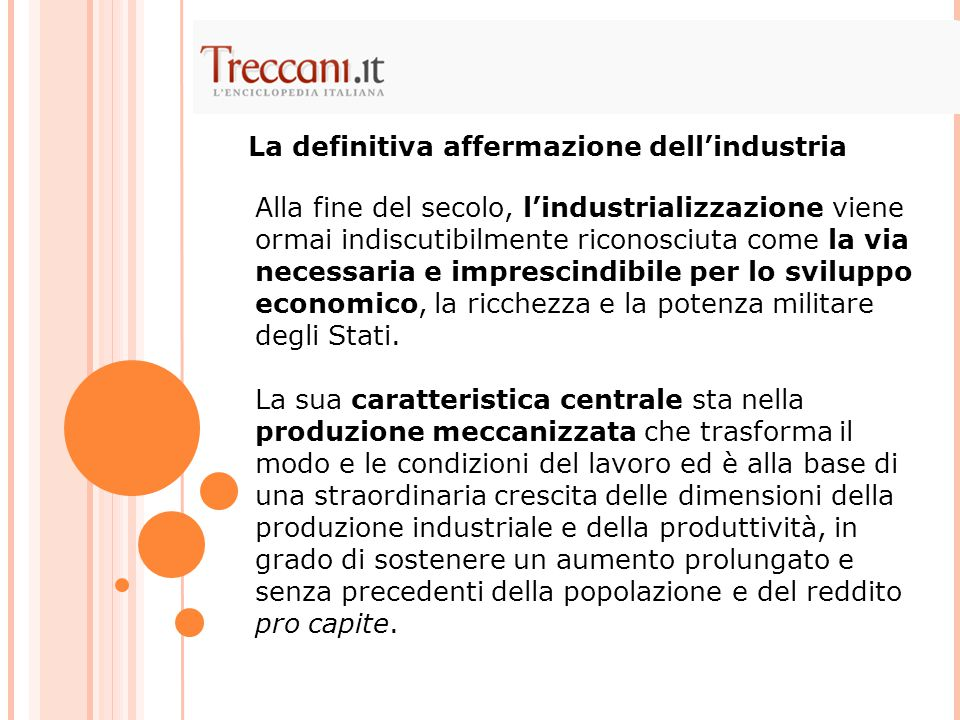 La definitiva affermazione dell'industria