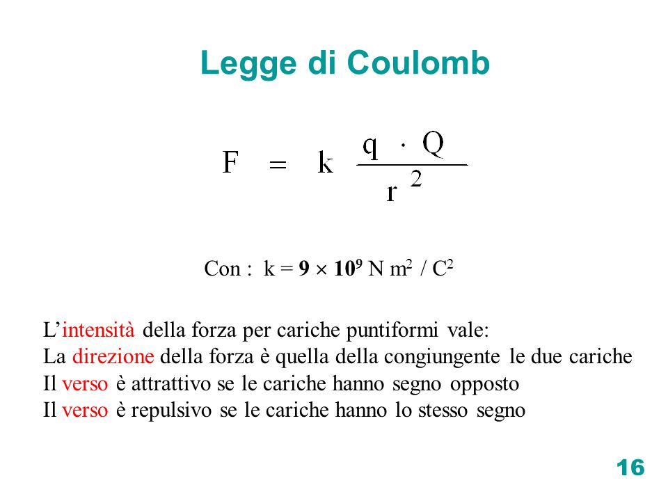Legge di Coulomb Con : k = 9  109 N m2 / C2