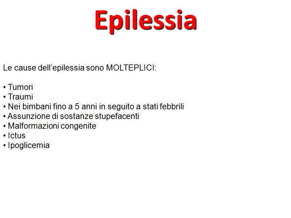 Epilessia Le cause dell'epilessia sono MOLTEPLICI: Tumori Traumi