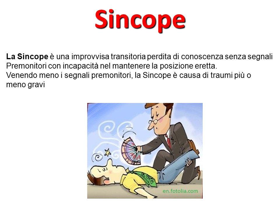 Sincope La Sincope è una improvvisa transitoria perdita di conoscenza senza segnali. Premonitori con incapacità nel mantenere la posizione eretta.