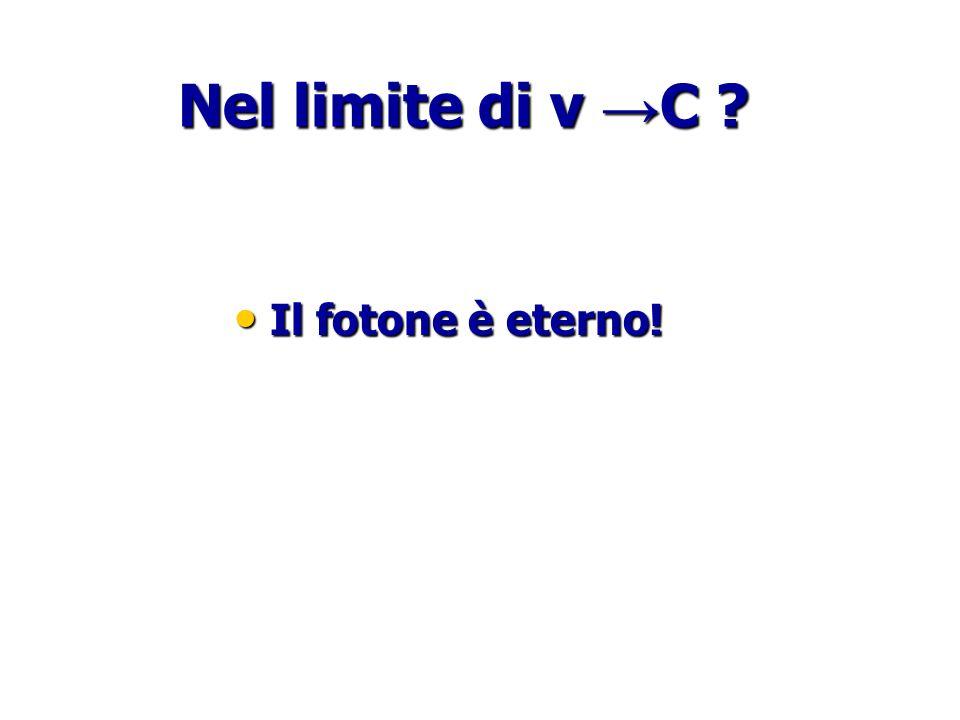 Nel limite di v →C Il fotone è eterno!