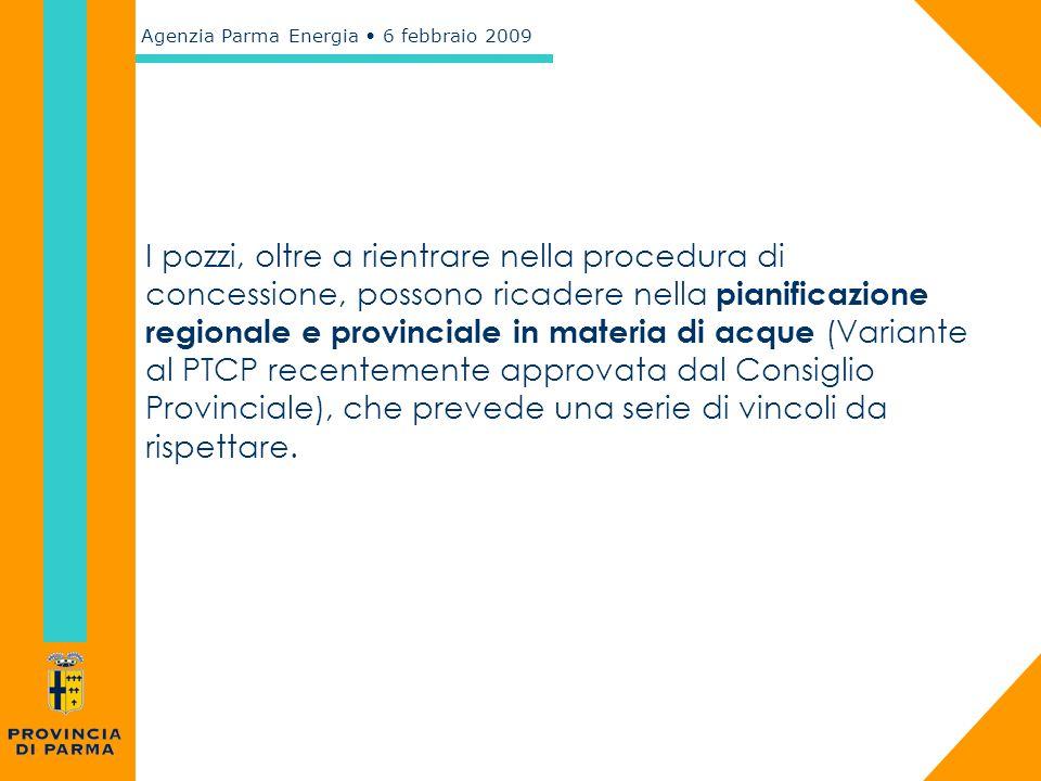 I pozzi, oltre a rientrare nella procedura di concessione, possono ricadere nella pianificazione regionale e provinciale in materia di acque (Variante al PTCP recentemente approvata dal Consiglio Provinciale), che prevede una serie di vincoli da rispettare.