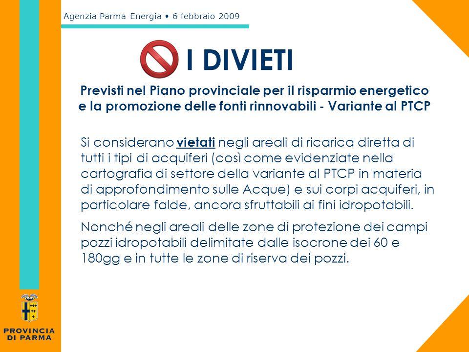 I DIVIETI Previsti nel Piano provinciale per il risparmio energetico e la promozione delle fonti rinnovabili - Variante al PTCP.